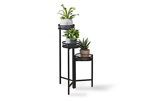 LIFA LIVING Moderne Blumentreppe aus schwarzem Metall, Pflanzenständer mit 3 Stufen, Dekorativer Blumentopfständer für den Innenbereich, Ø 25 x 84 cm