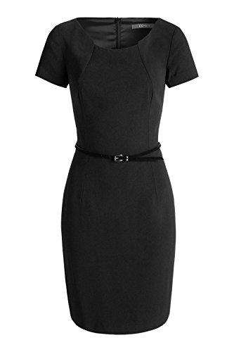 Esprit 026EO1E012 - Robe - Moulante - Uni - Manches courtes - Femme Noir (Black)