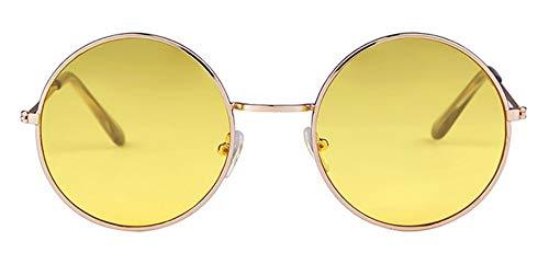WSKPE Sonnenbrille Frauen Bunte Runde Sonnenbrille Kreis Rosa Linse Klein Sonnenbrille Tönung Schattierungen (Gelbe Linse)