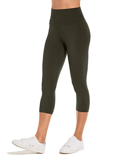 CRZ YOGA Damen Yoga Leggings Sporthose mit Hoher Taille-Nackte Empfindung Dunkle Olive-R418 XXS(34)