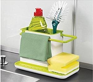 BJE Sink Organizer Storage Basket Brush Sponge Cleaning Cloth Holder kitchen draining dish rack Self Draining Sink, Bathroom Organizer, Tooth Brush Tooth Paste Holter, Soap stand, Cosmetic Organiser, Makeup Stand, Multi Utility  available at amazon for Rs.349