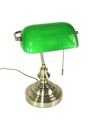Tischleuchte Bankers Lamp grün mit Zugschalter, Bankerslamp Bankerlampe Gestell antik messing Schirm grün Schreibtischlampe Arbeitsleuchte antik retro Nostalgie