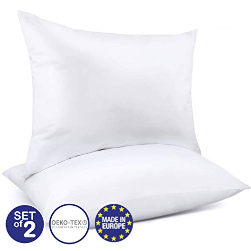 Dreamzie Set de 2 Oreillers Ajustables (80 x 80 cm) avec Sac de Stockage Vide - Certifié Oeko-TEX - Adapté pour Tous Types de Dormeurs (Dos, Côté ou Ventre) - Fermeture Éclair - Garantie 3 Ans