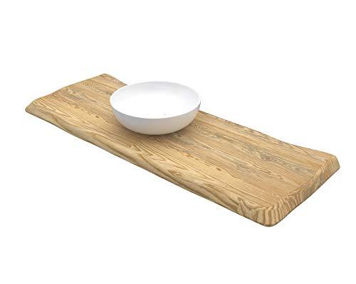 Ve.ca-italy mensola lavabo in legno massello con bordi irregolari profondita' 50 cm - spessore 5 cm, in 3 colorazioni + kit reggimensola 100% made in italy (frassino naturale miele oliva, 180x50x5 cm)
