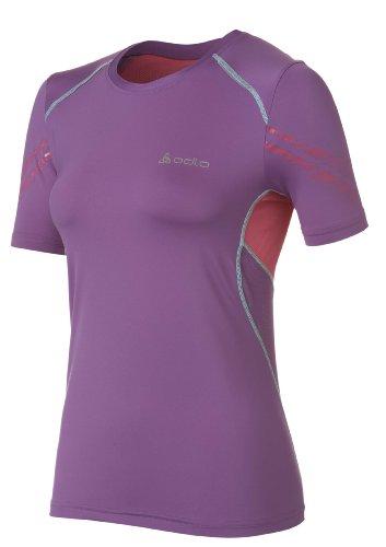 Odlo Race T-shirt à manches courtes et encolure ras du cou pour femme Multicolore - Violet/rose/bleu piscine
