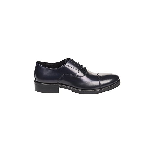 UominiItaliani - Chaussures élégantes en cuir à lacets pour hommes Made in Italy - Mod. 1155 2355 Bleu