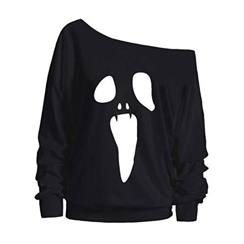 MRULIC Halloween Damen Kostüm Vampir Langarmshirt Scary Ghost Muster Pullover Tops Bluse(A-Schwarz,EU-42/CN-XL)