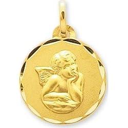 www.diamants-perles.com - Médaille Baptème - Médaille religieuse - Angelot - Or Jaune - 375/1000
