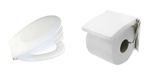 Carpemodo 2 tlg. Badset mit Toilettenpapierhalter und WC Deckel Blanc