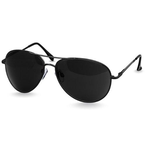 Caspar SG013 klassische Unisex Retro Piloten Sonnenbrille, Farbe:schwarz/schwarz