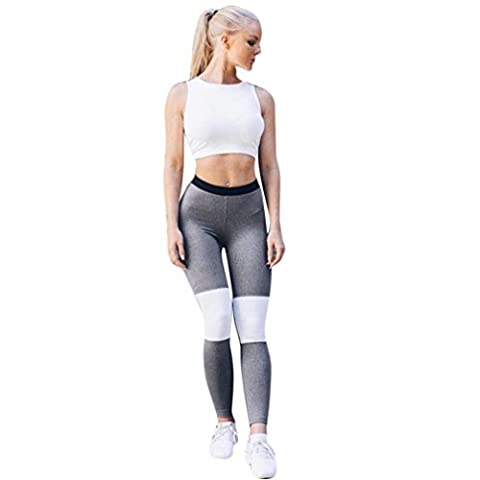 Pantalon de Yoga,Manadlian Femmes haute taille yoga fitness leggings jogging sport Stretch pantalon pantalons (Gris, S)