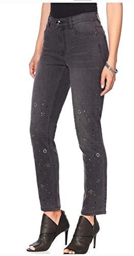 Diane Gilman DG2 570-469 Damen Stretch Verzierte Skinny Jeans grau - grau - 38 (Gilman Dg2 Diane)