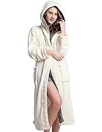 568323b0cb DEELIN Bathrobe Women s Dressing Gown Winter Hooded Nightwear Soft Spa Gym  Shawl Long Sleeve Warm Fluffy