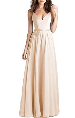 Brautjungfernkleider Pastell (DreamyDesign Damen Elegant Chiffon Brautjungfernkleid Spaghetti Träger V-Ausschnitt Abiballkleid Rückenfrei LangDE54 Champagner)