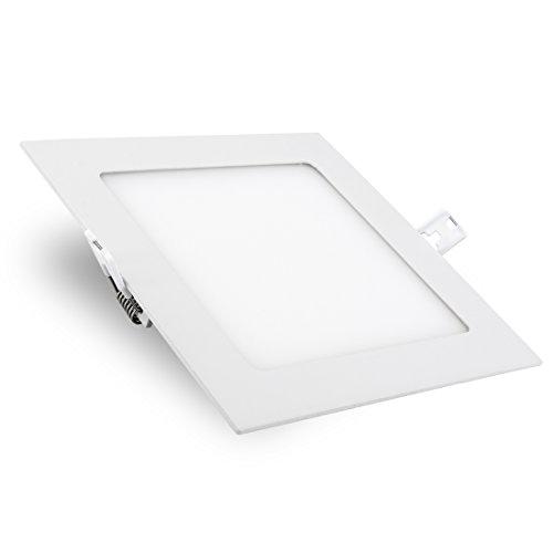 Viereckiger LED Panel Einbau Deckenstrahler (226 x 226 mm) mit IP44 Wasserschutz, 18W, warmweiß, 230V inklusive Trafo 226 Verkleidung