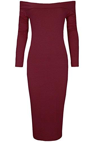 Oops Outlet - Robe Mi-Longue Épaules Dénudées Extensible Manches Longues Style Bardot Bordeaux