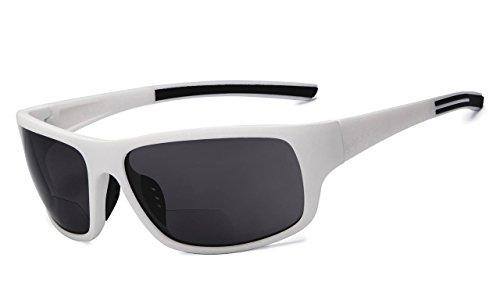 Eyekepper BifokalSonnenbrille +3.00 Stärke Lesen Sonnenbrillen (Weißes Rahmen-Grau-Objektiv)