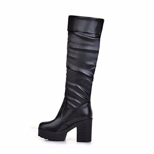 Stivali Alti Stivali Stivali Hanno Inverno Martin Piattaforma Lato Impermeabile In E Liscio Neri Autunno Signora qgtwW4a4