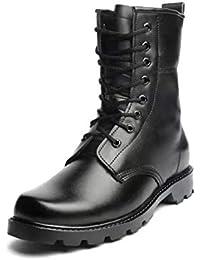 Hombre Botas de Piel Botas Tácticas de Combate Transpirables Botas Militares Zapatos de Tobillo al Aire Libre