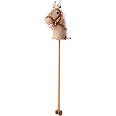 Bigjigs Toys Beige Cord Hobby Horse with Handles and Wheels