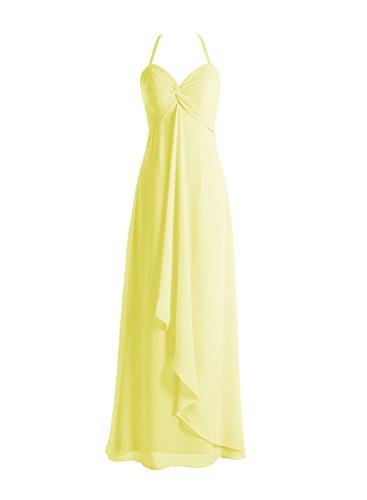 Bbonlinedress Robe de demoiselle d'honneur bretelles spaghetti longueur ras du sol Jaune