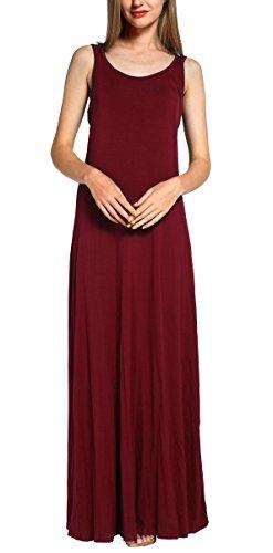 Damen Ärmellos Langes Top Stretch Maxi Kleid (M, Weinrot) (Maxi-kleid Stretch)