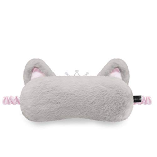 ZEERKEER Vaporera Mascarilla para ojos Temperatura ajustable y correa Correa ajustable con lavanda Vapor Eléctrica con calefacción Mejora la calidad del sueño (Lavanda, Grey princesa gato)