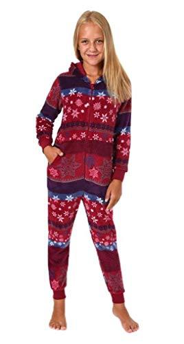 Mädchen Jumpsuit Overall Schlafanzug Onesie - Norweger Sterne Optik - 281 467 97 951, Farbe:rot, Größe:164