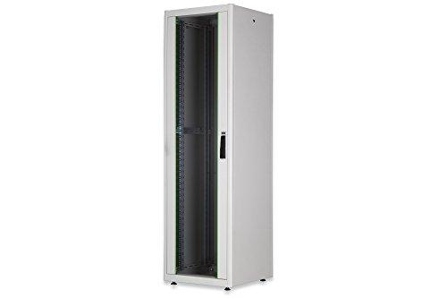DIGITUS Professional 22HE 19'' freistehender Netzwerkschrank, mit Glasfronttür, 1125x600x800 mm, grau (RAL 7035)