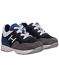 Hogan Junior Sneaker Interactive Blu e Grigie in Suede e Mesh e Dettagli in  Pelle HXT0920V311IBQ 6433dbf44c7