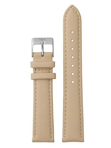 laVIIDA Uhrband LB-SVI2011S Ersatzband Uhrenarmband Leder 18 mm Beige-Silber