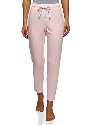 oodji Ultra Mujer Pantalones de Estar Casa Estampados con Cordones, Rosa, ES 42 / L