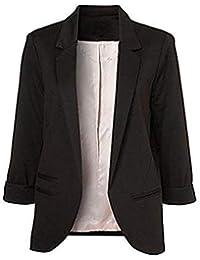 Minetom Femme Élégant Blazer à Manches Longues Slim Fit OL Veste De Costume Basique Ajusté Manteau Cardigan Blouson Jacket