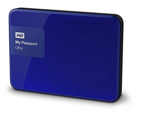 WD My Passport Ultra mobile externe Festplatte 6,4cm, 2,5' USB 3.0 mit Hardware Verschlüsselung, Passwortschutz - recertified, Kapazität:1.000GB (1TB), Farbe:Blau