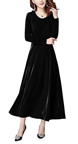 Damen Lange Langarm Abendkleid Maxi SAMT Party Kleid (XXL, schwarz)