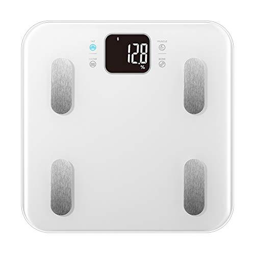 Básculas de cocina Báscula de baño digital inteligente controlada por la aplicación de Bluetooth en casa, la báscula electrónica pesa con precisión 330 libras Básculas de cocina ( Color : White )