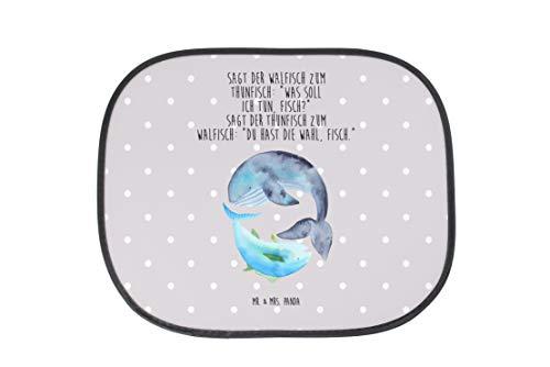 Mr. & Mrs. Panda Familie, Fenster, Auto Sonnenschutz Walfisch & Thunfisch mit Spruch - Farbe Grau Pastell