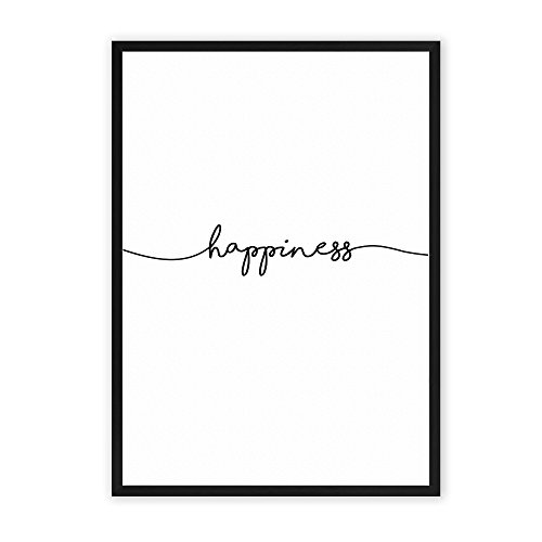happiness - Kunstdruck auf wunderbarem Hahnemühle Papier DIN A4 (optional A3 und A2) -ohne Rahmen- schwarz-weißes Bild Poster zur Deko im Büro / Wohnung / als Geschenk Mitbringsel zum Geburtstag etc.