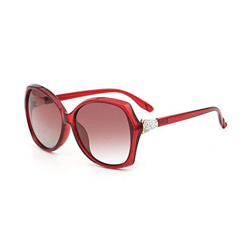 Polarisierte Sonnenbrille, Fashion Big Frame Sonnenbrille, Europäische und Amerikanische Art, Gesichtsreparatur, Außenspiegel - Rot