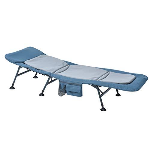Klappstühle Klappbett Feldbett Krankenhaus-Eskorte-Bett Garten-Klappbett Büro-Haar-Aufenthaltsraum-Stuhl Haupteinzelbett Im Freien Bewegliches Klappbett (Color : Blue, Size : 185 * 70 * 38cm) - Arm-futon
