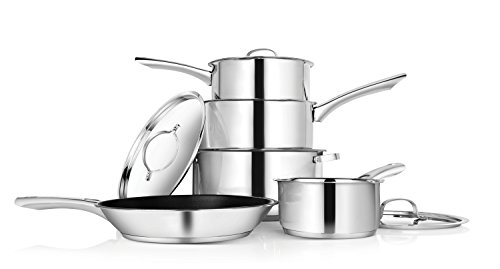 Penguin Home Professional Induction-Safe 5pc Cookware Set - Stainless Steel - Built to Last a Lifetime - 18cm & 20cm Saucepan with Lid - 24cm Non-Stick Frying Pan - Casserole Pot - 14cm Milk Pan without Lid