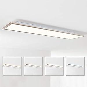 LED Panel Deckenleuchte 120x30cm, 1x 62W LED integriert, 1x 4540 Lumen, 2700-6200K, Metall/Acryl, nickel eloxiert