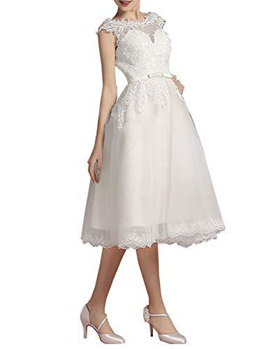 Brautkleider Kurz Vintage 60er A-Linie Rückenfrei Tüll Perlen Hochzeitskleider Standesamtkleid...