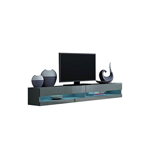 TV Lowboard Vigo New 180 cm, TV Tische, TV Schrank, Fernsehschrank, Hängeschrank, Hochglanz (mit blauer LED Beleuchtung, Grau / Grau Hochglanz)