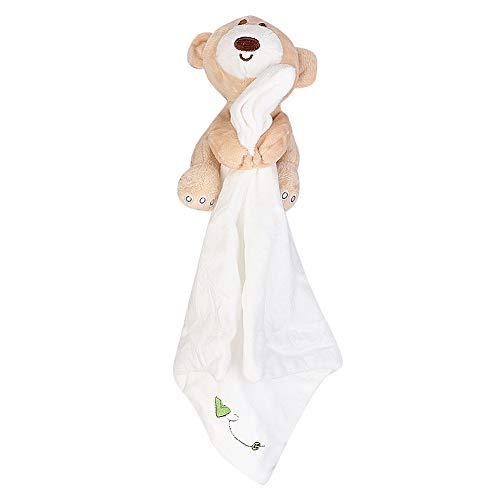 Coperta di sicurezza per bambini Morbido Peluche Orso Peluche Comfort Coperta di lenitivo per bambini Toddles(bianca)