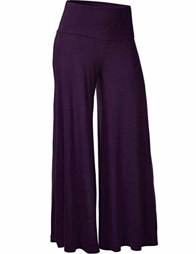 Emma Damen Klassisch einfarbrig hohe Taille weite Palazzo Lounge Hose Violett