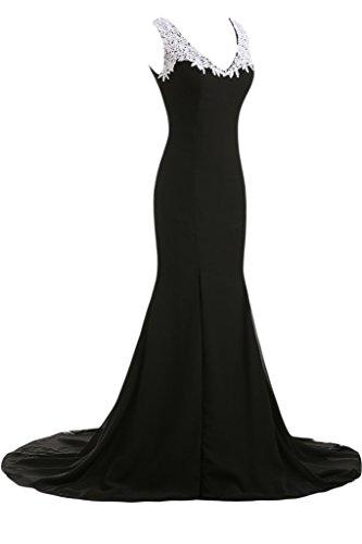 Sunvary Chic profondo scollo a V abiti da sera lungo Gowns formale-Vestito da donna Nero