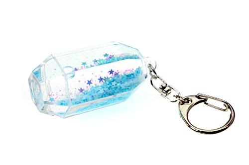 creationtop Liquid Schlüsselanhänger Modische Glitter Glitzer Puder beweglichen Schwimmende Schlüsselanhänger, Light Blue Stars