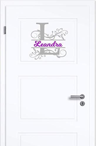 NEU Aufkleber/Sticker für Kinderzimmer - Wände,Türen, Autoscheiben/Lack uvm ***Ihr Monogramm Buchstabe + Wunschtext***(Größen.- und Farbauswahl) -