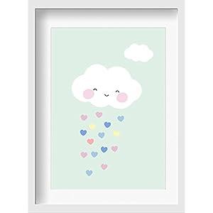 """Bilder Kinderzimmer Poster""""Wolke (mint)"""" – hochwertiger Druck auf Qualitäts-Papier, pastellfarben (ungerahmt)"""